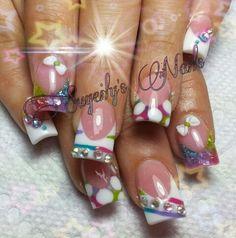 Otras lindisimas uñas en alto relieve sólo en la punta.  Full color Nails
