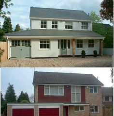 There is a whole host of companies, such as the fabulous Back To Front Exteriors, that work the most unbelievable magic on houses. Council House Makeover, Council House Renovation, 1970s House Renovation, House Extension Design, House Front Design, House Cladding, Facade House, House Paint Exterior, Dream House Exterior