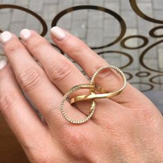 Lovely loops! This hand forged ring is made from 18ct gold and set with tiny white diamonds to highlight its twists and turns. #handmade #handcrafted #lovegold