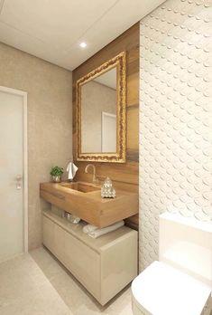 Porcelanato madeira no banheiro Bathroom Interior, Modern Bathroom, Small Bathroom, Small Toilet Room, Interior Desing, Small Spaces, Bedroom Styles, Sweet Home, Design