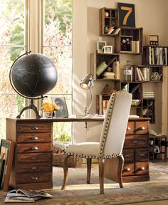 brilliant crate idea on the wall and love the small desk