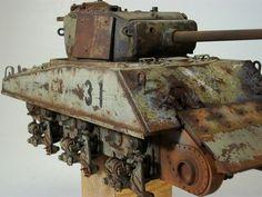 Modeling Techniques, Modeling Tips, Tank Armor, Sherman Tank, Model Tanks, Military Modelling, Rusty Metal, Military Diorama, Model Ships