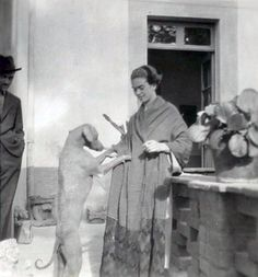 Frida Kahlo with one of her Xoloitzcuintle dogs