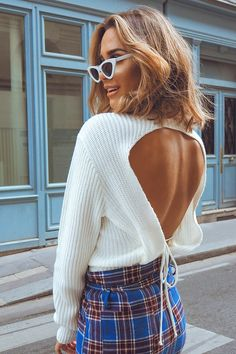 Order the White Backless Tie Jumper from In The Style. Knit Sweater Dress, Sweater Outfits, Cropped Sweater, Sewing Clothes, Crochet Clothes, Trendy Outfits, Fashion Outfits, Fashion Fashion, Fashion Ideas