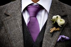 Purple tie, grey plaid