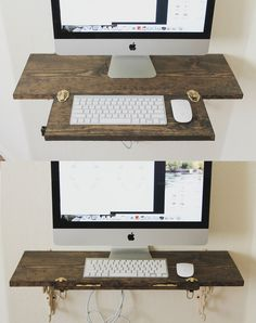 LOVE this hanging computer desk idea that folds up, from the painted arrow