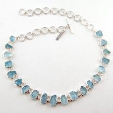 Sterling Silver Necklace With Rough Aquamarine Gemstone  #aquamarinejewelry #birthstonejewelry