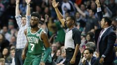 Boston Celtics' Jaylen Brown (7) turns up court after making a three-pointer during the third quarter of an NBA basketball game against the Golden State Warriors in Boston, Thursday, Nov. 16, 2017. The Celtics won 92-88. (AP Photo/Michael Dwyer)