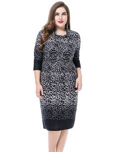 Chicwe Women's Cowl Neck Printed Cashmere Touch Plus Size Dress >> Special  product just for you. See it now! : Women clothing