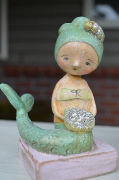 Mermaid 1 Paperclay Folk Art Doll
