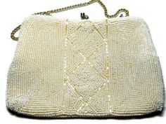 Vintage Purse Evening Ivory Colored Beaded Bridal