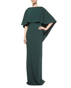 Sydney Column Gown with Cape by ZAC Zac Posen at Neiman Marcus.