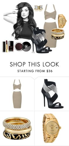 """""""Dressing up Kylie J."""" by equiscriminal ❤ liked on Polyvore featuring Giuseppe Zanotti, Chanel, Michael Kors and Rolex"""