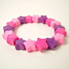 Stretch Kandi Bracelet Chunky Plastic Star Beads Purple Pink Decora Fairy Kei. $4.00, via Etsy.
