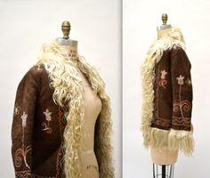 Vintage Embroidered Shearling Jacket Afghan Jacket