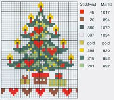 Colourful Tree • Chart with Colour Guide – looks good as a triangle ornament