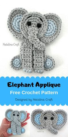 This Free Elephant appliqué crochet pattern is great to make the cutest elephant appliqués. Their cuteness make them perfect for a crochet baby blanket. These elephant crochet appliqués work up quickly, you can then sew them or even glue them on yo Crochet Applique Patterns Free, Crochet Motifs, Crochet Blanket Patterns, Baby Blanket Crochet, Free Crochet, Crochet Baby, Free Pattern, Crochet Appliques, Crochet Elephant Pattern Free