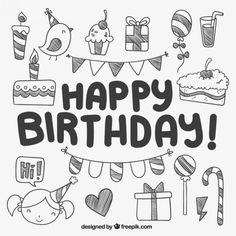 Discover thousands of copyright-free vectors. Graphic resources for personal and commercial use. Thousands of new files uploaded daily. Birthday Doodle, Birthday Card Drawing, Birthday Cards, Doodle Drawings, Doodle Art, Chalkboard Doodles, Doodle Icon, Doodle Lettering, Doodle Patterns