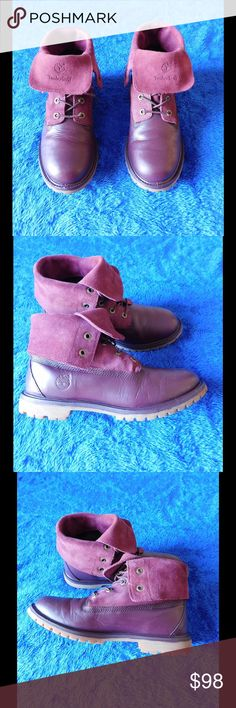 Leather-Suede Chic Burgundy Timberland Booties These of booties are really cute and adorable. Amazing. Soft and comfy material. Gorgeous color and exquisite design. Size 9.5 - Almost New. Save $$$ on bundles. Timberland Shoes Ankle Boots & Booties