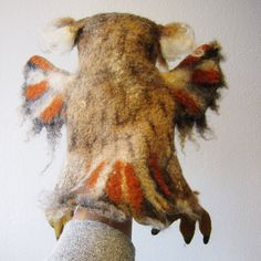 the great horned owl hand puppet wet felted. MADE TO by bibabo