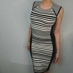 Karen Millen Size 1 8 10 Bodycon Illusion Dress Black Beige White Stripes knit #KarenMillen #Bodycon #PartyCocktail