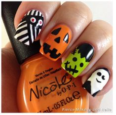 70 Best Halloween Nail Art Designs And Ideas You Will Like These trendy Nails ideas would gain you amazing compliments. Check out our gallery for more ideas these are trendy this year. Cool Easy Nails, Easy Nail Art, Simple Nails, Halloween Nail Designs, Halloween Nail Art, Cute Nail Designs, Funny Halloween, Fall Halloween, Halloween Party