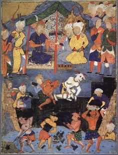 Dhul-Qarnayn, Alexander the great, with the help of some jinn, building the Iron Wall to keep the barbarian Gog and Magog from civilized peoples. (16th century Persian miniature).