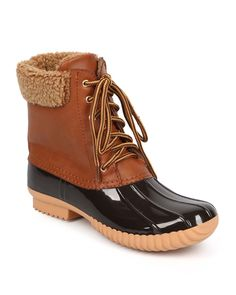 New-Women-Nature-Breeze-Duck-02-Mix-Media-Shearling-Lace-Up-Zip-Duck-Boot-Size