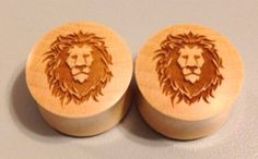 Custom Handmade Lion's Head Organic Wood Plugs   by ULEKstore, ONLY $19.95  Also available at ulekstore.com
