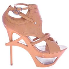 Jerrica06 Natural Gladiator Cut Out Architectural High Stiletto Heel Women Shoes
