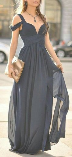 Beautiful Prom Dress, navy blue off the shoulder evening dress bridesmaid dress for wedding long chiffon formal with straps sleeves modest bridesmaid gown Meet Dresses Pretty Dresses, Beautiful Dresses, Elegant Dresses, Gorgeous Dress, Pretty Clothes, Evening Dresses, Prom Dresses, Dress Prom, Bridesmaid Gowns