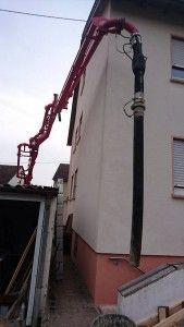 Betonpumpe - Betonieren einer Treppe