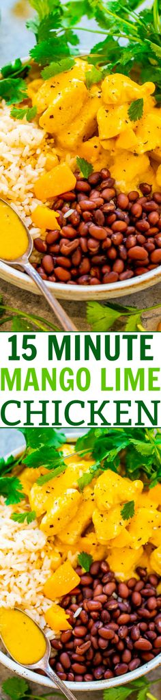 15-Minute Mango Lime Chicken with Rice and Beans -EASY, healthy, and the mango sauce spiked with lime juice is SO tasty!! You can't go wrong with Mexican-inspired flavors, JUICY chicken, and rice and beans!!