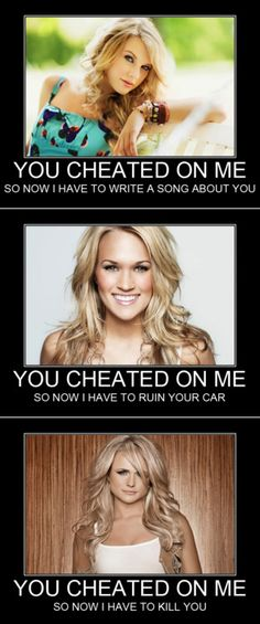 lol taylor swift = accurate. carrie underwood = accurate. miranda lambert = accurate. bless this post.