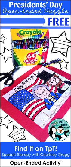 FREE open-ended puzzle activity for speech/language therapy or any skill. Presidents' Day print-and-go sheet.