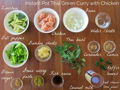 Instant Pot Thai Green Curry Ingredients - Paint the Kitchen Red Recipe With Bamboo Shoots, Thai Green Curry Ingredients, Creamy Coconut Chicken, Coconut Milk, Tofu Green Curry, Great Recipes, Healthy Recipes, Instant Pot Dinner Recipes, Curry Paste
