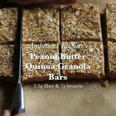 💛Major love💛 for my peanut butter quinoa granola bars with nearly 7g of protein. Easy to make and so addicting. Big shoutout to my sexy boyfriend for helping me make the video. Want the recipe?! 👉🏼 Search 'peanut butter quinoa granola bars' on AmbitiousKitchen.com! 😘