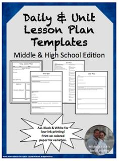 Lesson plan template and new teacher packet attendance sheet a back to school resource linky secondary edition need lesson plan templates fandeluxe Choice Image