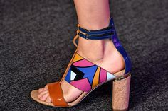 T's Daily Shoe: Technicolor Dream Sandals at Peter Pilotto. LFW Spring 2015 (Photo: Firstview)