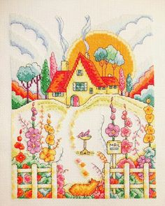 Clarice Cliff inspired Art Deco cottage by Susan Bates >> Issue 229 of The World of Cross Stitching Magazine Cross Stitching, Cross Stitch Embroidery, Hand Embroidery, Cross Stitch House, Cross Stitch Charts, Cute Cottage, Art Deco Home, Tapestry Design, Needlepoint