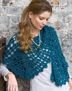 Best Free Crochet » Free Crochet Pattern Graceful Shell Shawl From RedHeart.com