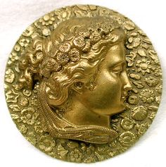 Gorgeous Antique Stamped Brass Picture Button Lovely Woman w Flowers in Hair | eBay