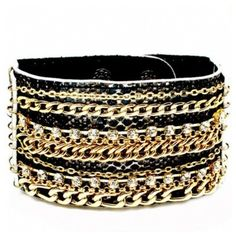 Keola's Black Faux Snakeskin Rhinestone & Gold Chain Bracelet ($39) ❤ liked on Polyvore featuring jewelry, bracelets, accessories, pulseiras, pulseras, chains jewelry, gold rhinestone jewelry, gold jewellery, animal jewelry and yellow gold jewelry