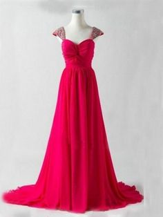 rose red sweet heart short sleeves long bridesmaid dress | Cheap full length Sale