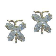 Butterfly Earrings https://www.goldinart.com/shop/childrens-jewelry/butterfly-earrings #14KaratYellowGold, #CZEarrings