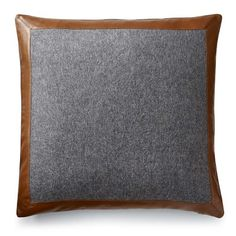Cashmere and Leather Pillow Cover, Grey #williamssonoma