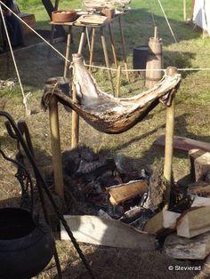 Cooking in a deerskin.