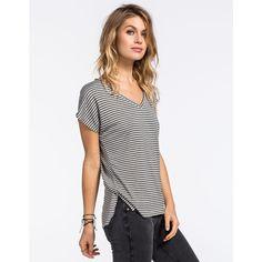 Full Tilt Boyfriend Stripe Womens V-Neck Tee ($9.97) ❤ liked on Polyvore