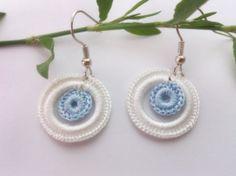 Crochet earring Crochet jewelry Blue and white Hoop by GuruMIme, $8.00