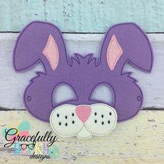 Bunny Mask Embroidery Design - 5 x 7 Hoop - Animal Face Mask, Animal Masks, Bible Crafts, Felt Crafts, Mouth Mask Design, Bunny Mask, Printable Masks, Crafts For Kids, Arts And Crafts